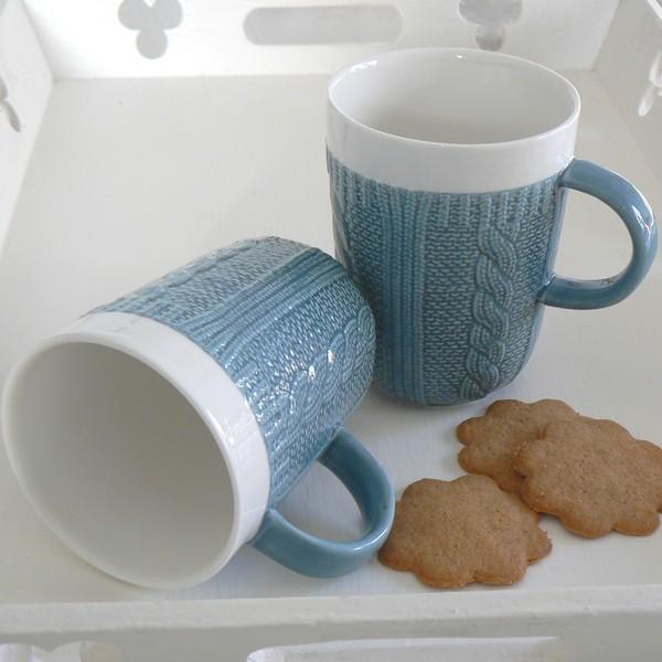 Kaffeebecher / Teebecher Strickmuster dalablau