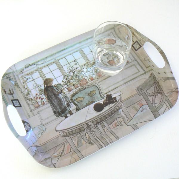 Tablett eckig Carl Larsson Blumenfenster