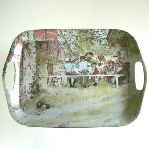 Kunststoff-Tablett eckig Carl Larsson Frühstück unter der großen Birke