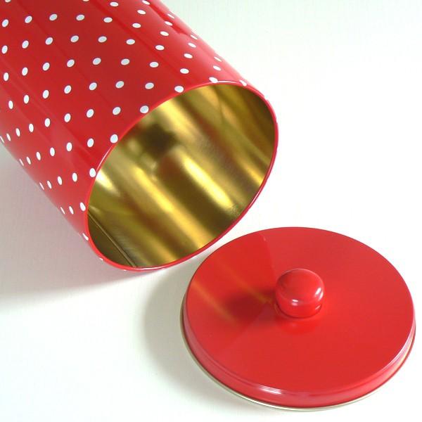 """Müslidose Vorratsdose """"Prickig"""" rot mit weißen Punkten aus Metall"""