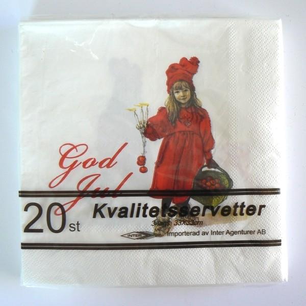 20 Papier Servietten Carl Larsson God Jul Apfelmädchen