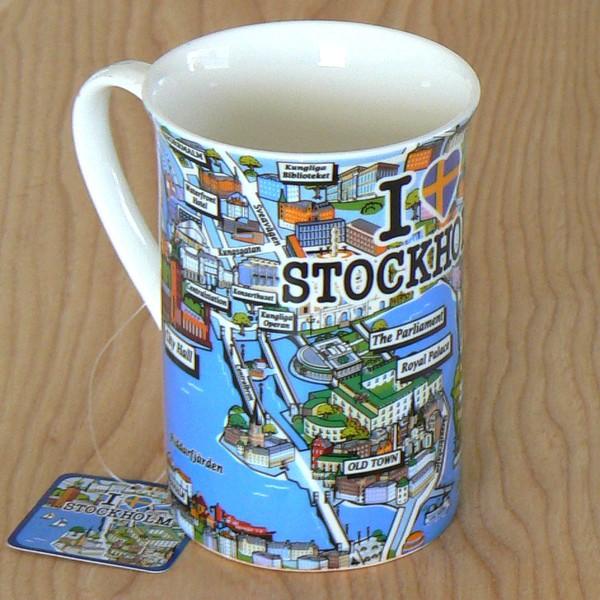 Kaffeebecher / Teebecher mit 3D Stadtplan von Stockholm