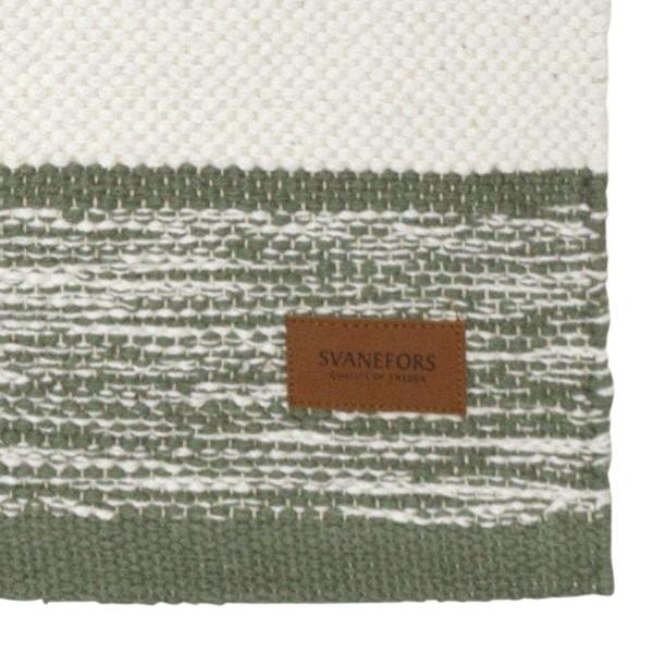Webteppich grün weiß 70x140 cm Baumwolle