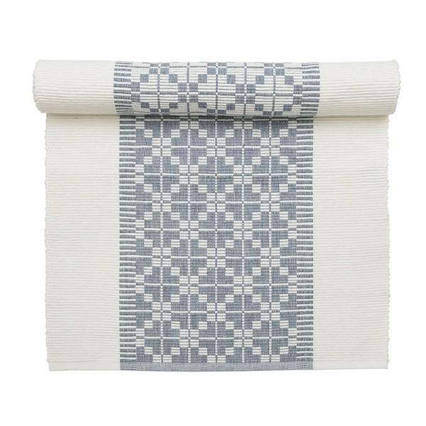Gewebter Tischläufer 90 x 35 cm Gunvor weiß blau aus Baumwolle
