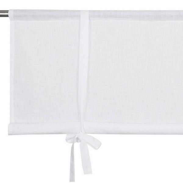Schwedische Rollgardine aus weißer Baumwolle in Leinenoptik zum Hochbinden 80 cm