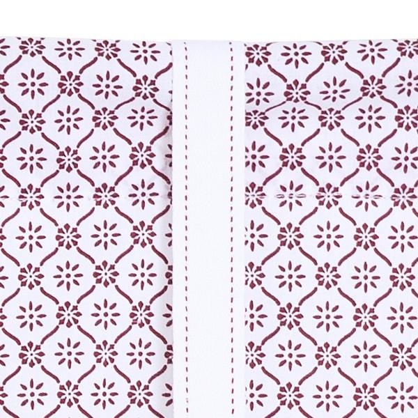 Rollgardine weiß weinrot Baumwolle 140cm breit
