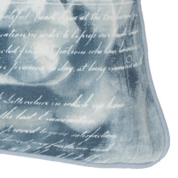 Kissenhülle / Kissenbezug 45x45 cm mit Rosenmuster blau und Keder