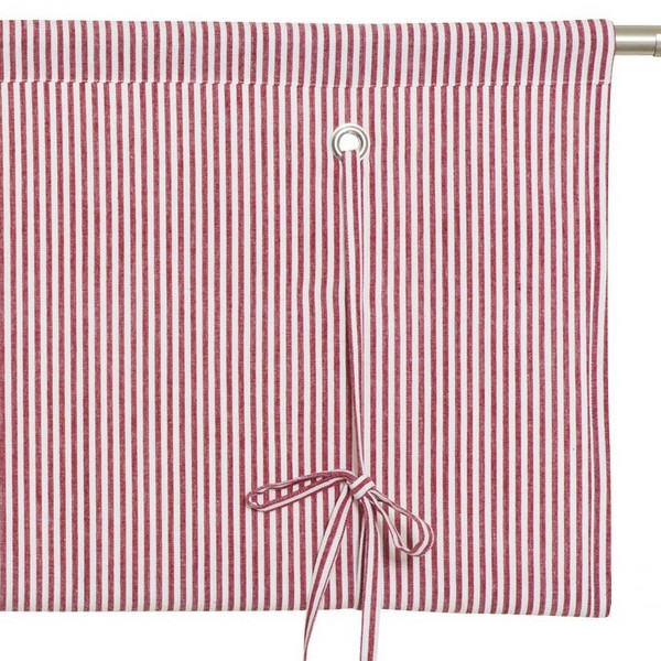 Skandinavische Rollgardine rot-weiß gestreift aus Baumwolle