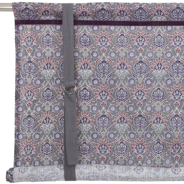 Schwedische Bindegardine Pernilla grau lila 100 cm