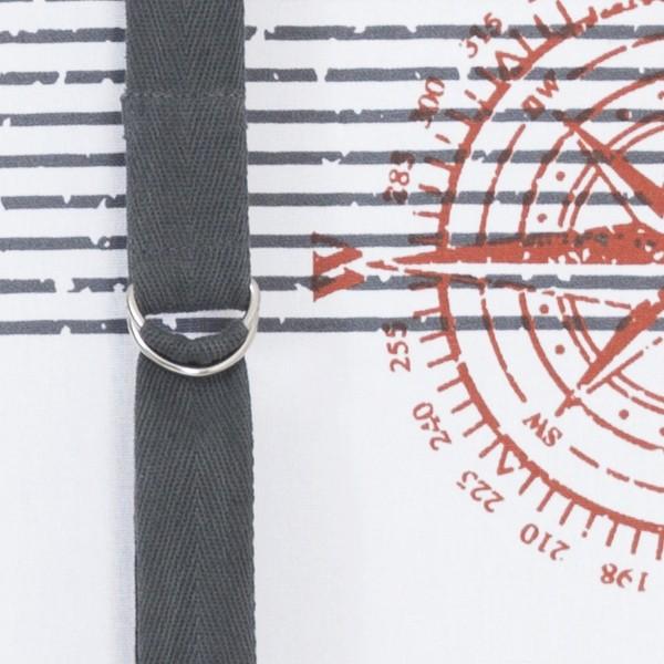 Schwedische Rollgardine 140cm grau weiß terra mit Windrose