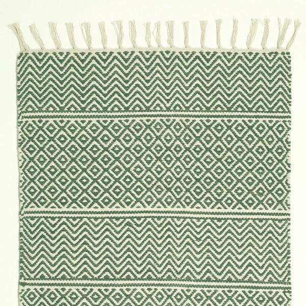 Teppich creme grün 70x140 cm Baumwolle gewebt mit Fransen