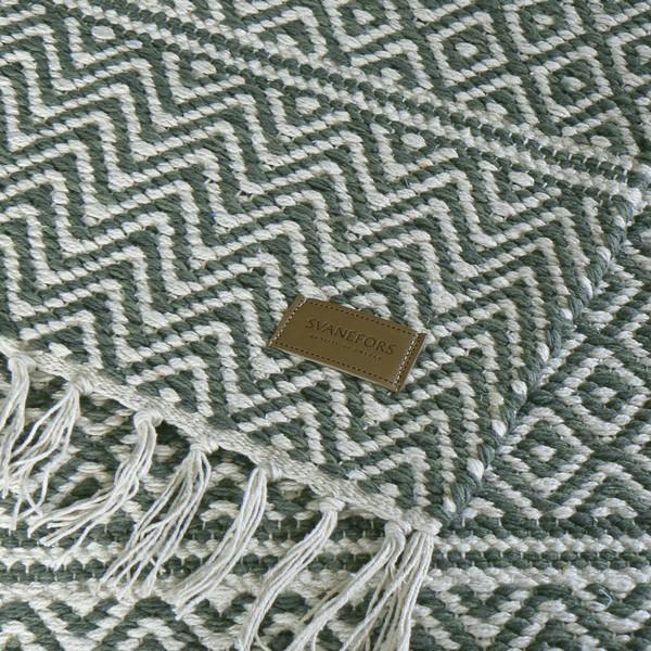 Teppich creme grün 70x140 cm Baumwolle gewebt mit Kunstlederlogo