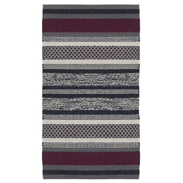 Baumwoll Teppich Gewebt teppich grau weinrot 70x140 cm baumwolle gewebt bei min butik