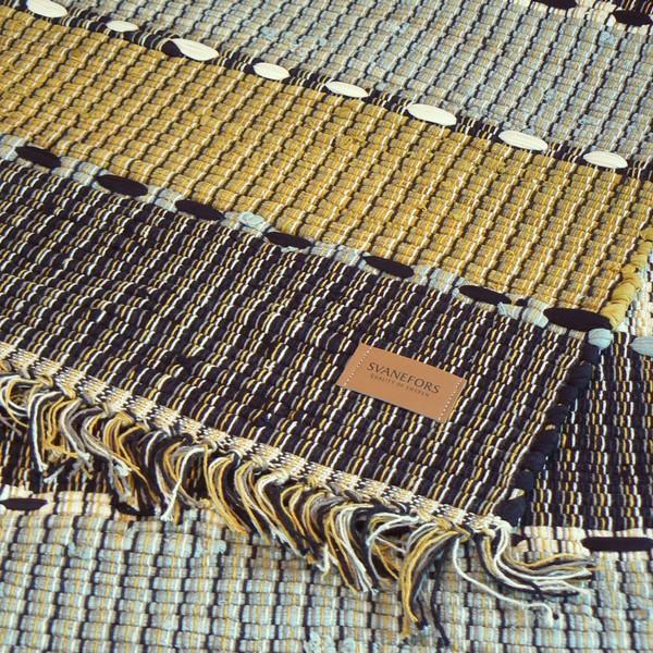Webteppich grau messing 70x140 cm Baumwolle