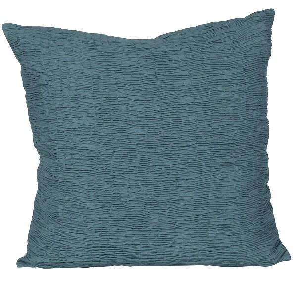 Kissenhülle / Kissenbezug 45x45 cm petrol gesmokt aus Baumwolle