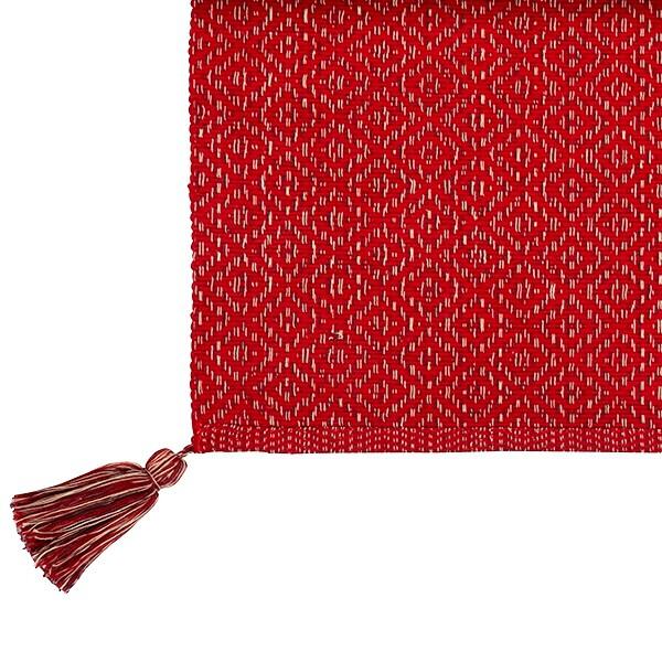 Tischläufer mit Troddeln 120 x 35 cm rot Baumwolle