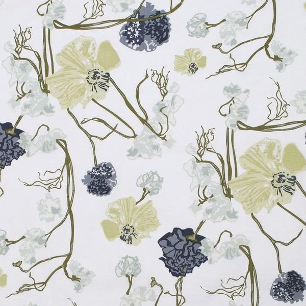 schwedische Fertig-Gardine weiß grün blau aus Baumwolle