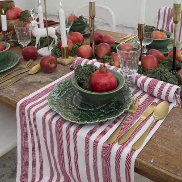 """Weihnachtlicher Tischläufer """"Fischgrät-Struktur"""" rot-weiß gestreift 140 x 40 cm"""