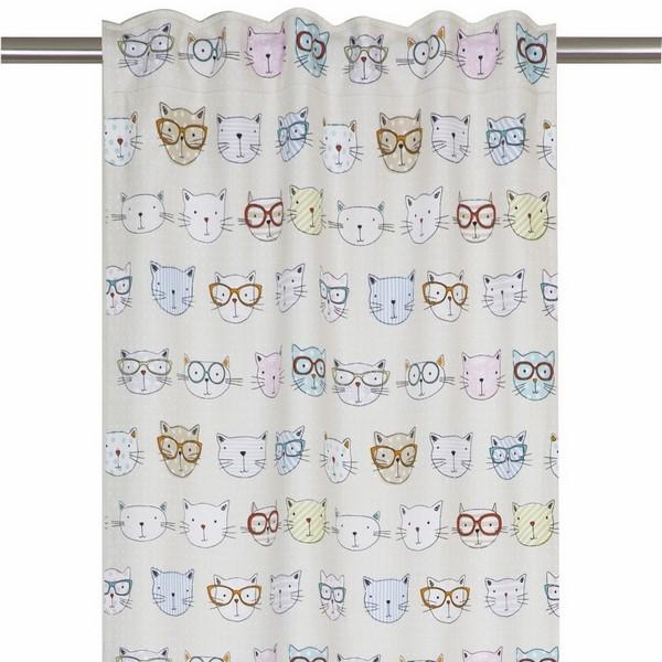 """Gardinenschal / Vorhangschal """"Katzen"""" 2er-Set aus Baumwolle"""