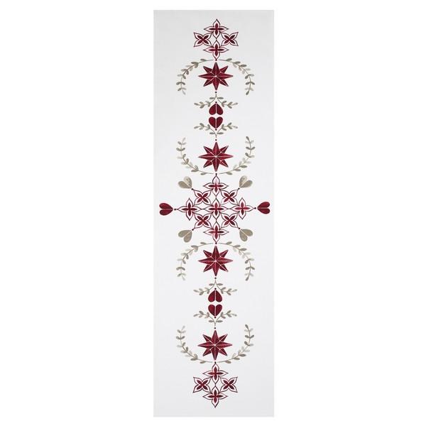 Tischläufer Rättvik im skandinavischen Landhausstil weiß mit grau rotem Dekor