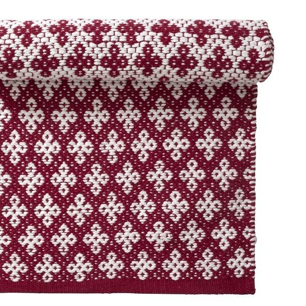 Baumwoll Teppich Gewebt teppich rot weiß 70x140 cm baumwolle gewebt bei min butik