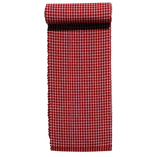 Tischband / Tischläufer rot-weiß 120 x 15 cm aus Baumwolle gewebt