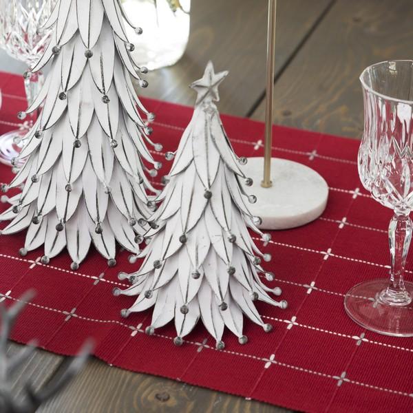 Skandinavische Winter-Deko: Tanne weiß 20 cm aus Eisen