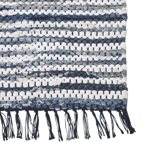 Maritimer Teppich blau weiß gestreift 70x140 cm Baumwolle