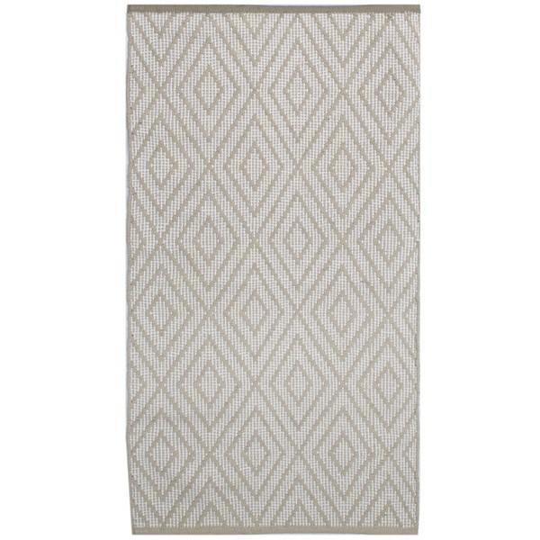 Skandinavischer Landhausstil: Teppich Rauten beige 70x140 cm Baumwolle