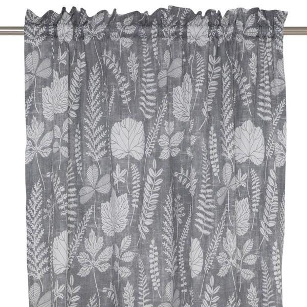 Gardinenschal / Vorhangschal  2er-Set grau weiß für Wohnzimmer, Esszimmer, Schlafzimmer