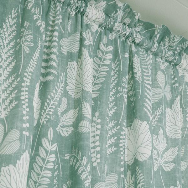 Gardinenschal / Vorhangschal  2er-Set Blätter grün weiß