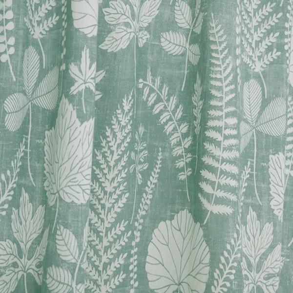 Gardinenschal / Vorhangschal  2er-Set Laub grün weiß