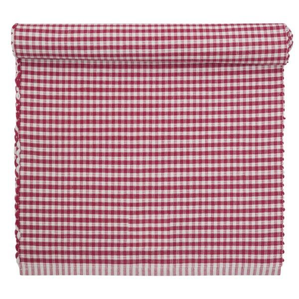 Tischläufer rot-weiß kariert gewebt 120 x 35 cm