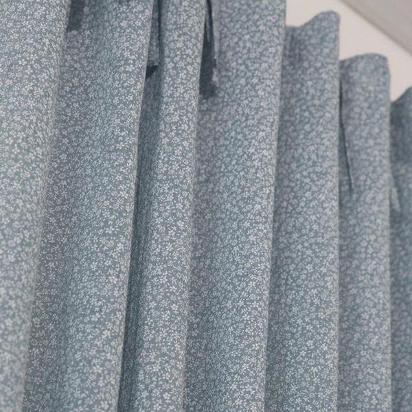 """Gardinenschal / Vorhangschal """"Smilla"""" hellblau mit Schleifenbändern 2er-Set"""
