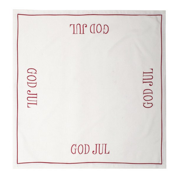 "Nordische Tischdecke ""God Jul"" rot bestickt 85 x 85 cm"