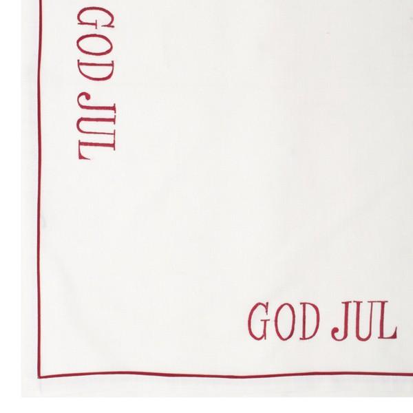 "Nordisches Tischtuch ""God Jul"" rot bestickt 85 x 85 cm"