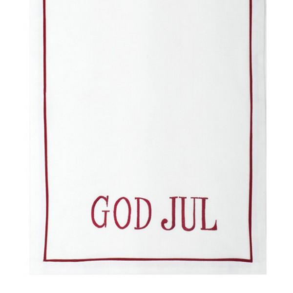 """Nordischer Tischläufer """"God Jul"""" weiß rot bestickt 100 x 40 cm"""