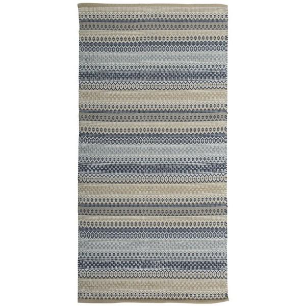 Schwedischer Webteppich aus Baumwolle beige blau grau