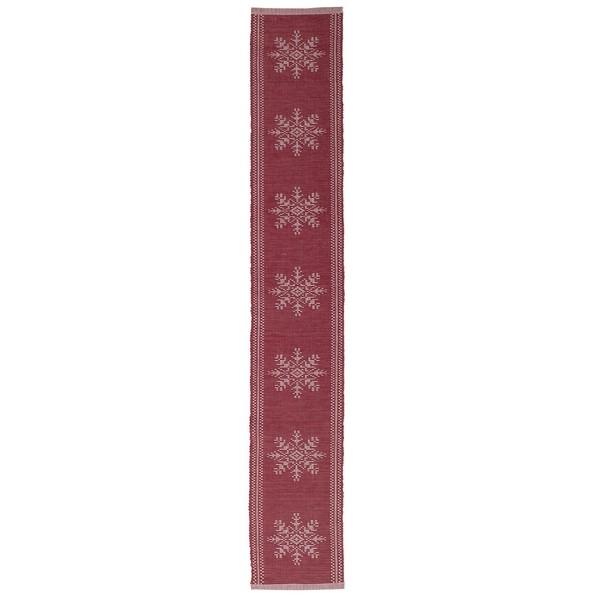 """Tischband """"Schneeflocken"""" rot weiß gewebt 120 x 20 cm"""