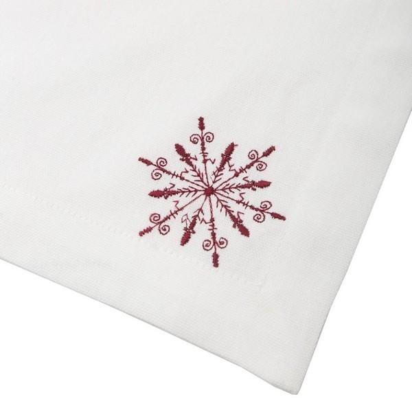 Weiße Serviette Schneeflocke Baumwolle rot bestickt 2er Set