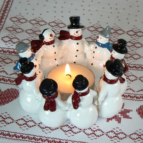 Harvesttime Teelichthalter groß Schneemann-Ring aus Keramik