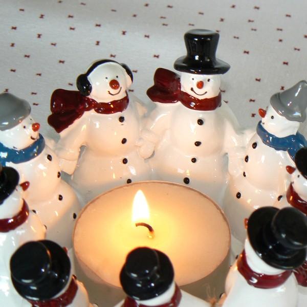 Harvesttime Teelichthalter Schneemann-Ring für ein großes Teelicht