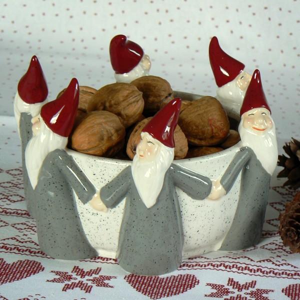 Schwedische Weihnachtsschale Wichtel-Reigen grau aus Keramik