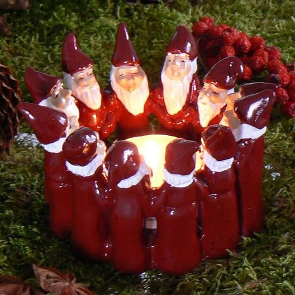 Harvesttime Teelichthalter Wichtelkreis rot