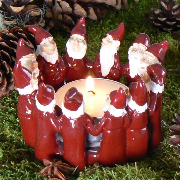 Harvesttime Teelichthalter für ein großes Teelicht Tomtering rot