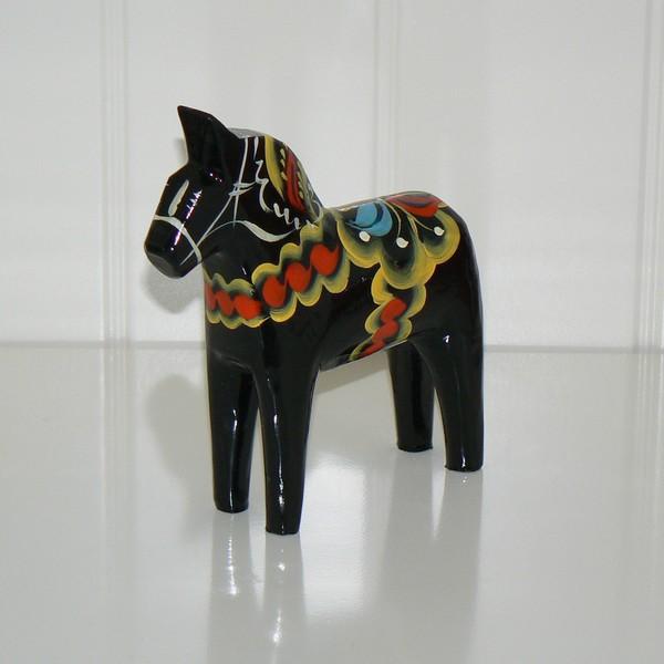 schwarzes Dalapferd 13 cm schwedische Volkskunst
