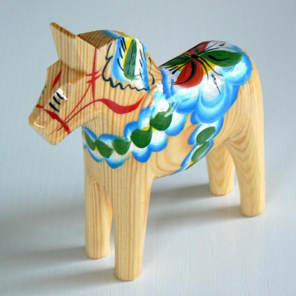 Dalapferd 13 cm natur handgeschnitzt und handbemalt