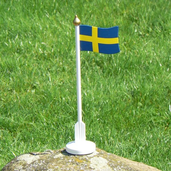 Große schwedische Holzfahne 33cm zur Tischdekoration