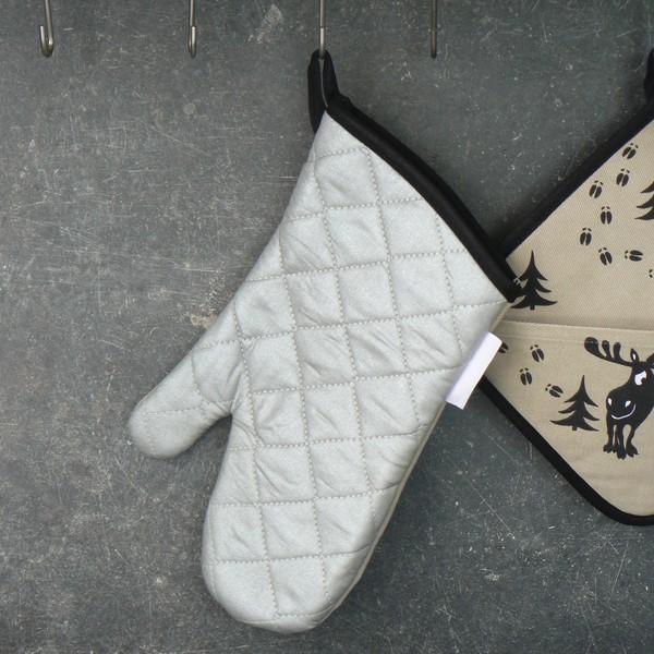 Topfhandschuh Grillhandschuh Elchspur beige-schwarz mit metallisierter Rückseite