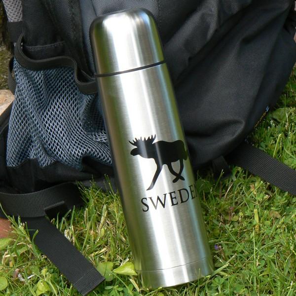 Für Schwedenfans: Isolierflasche Edelstahl mit Elchmotiv